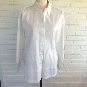 Foxcroft white linen blend tunic top sz 10
